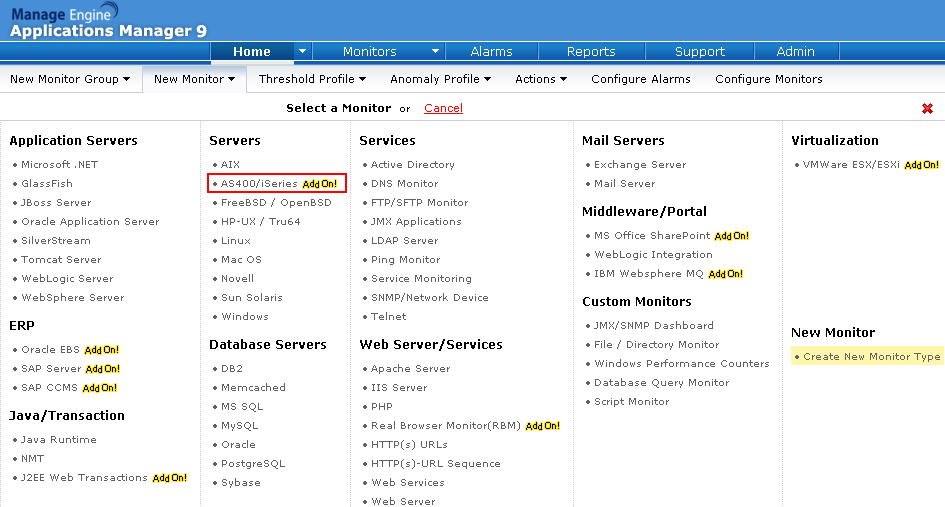 how to add an as400 monitor in applications manager manageengine blog