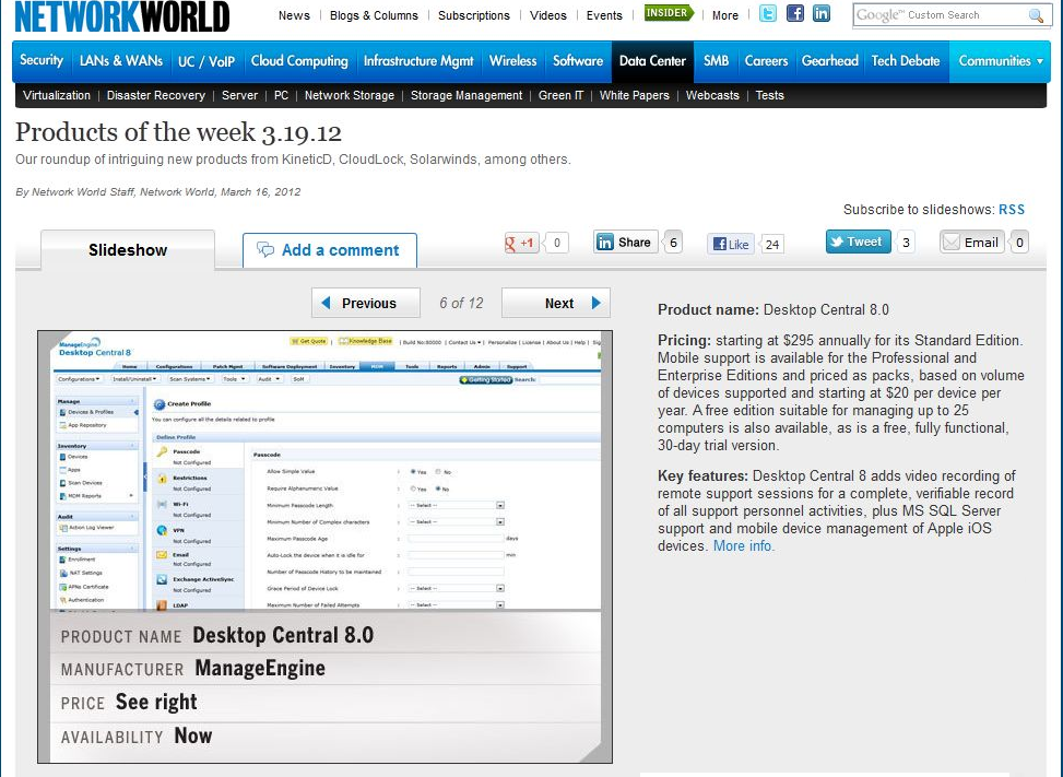 Desktop Central on Network World Product of the Week