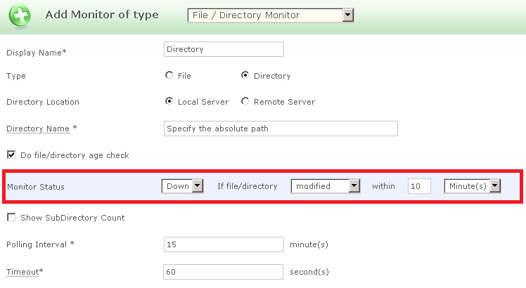 Applications Manager File/Directory Monitoring