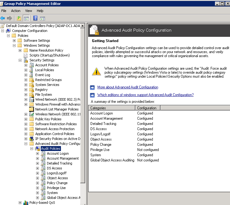 Auditing with Advanced Audit Policy Configuration