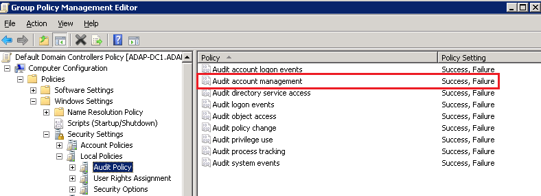 Audit Policy Configuration
