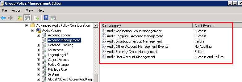 Advanced Audit Policy: Account Management Settings