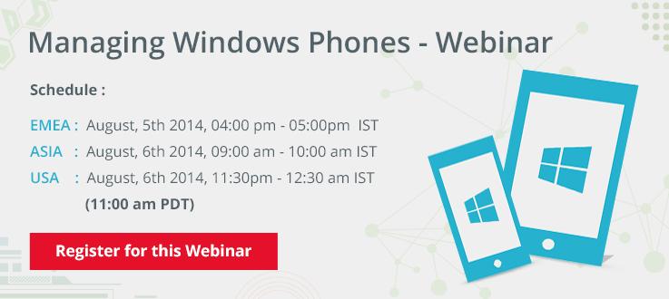 Managing Windows Phone Using Desktop Central – Webinar