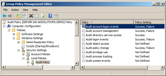 Audit policy settings to track Active Directory changes