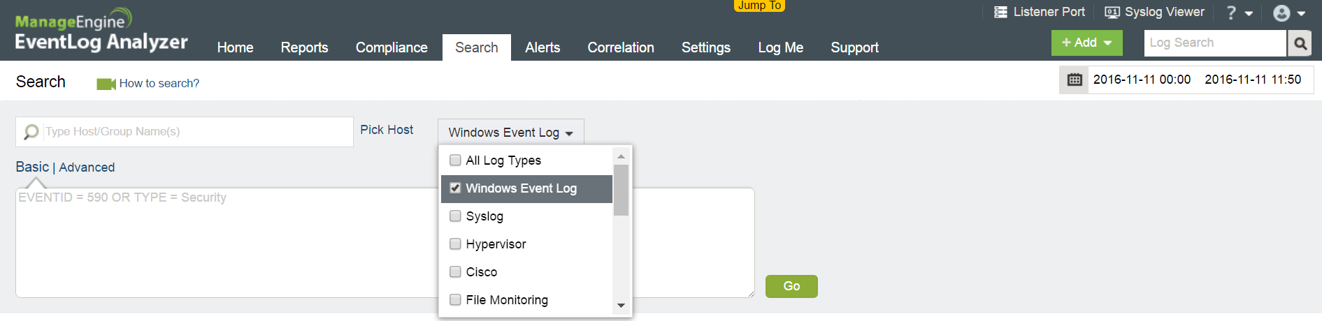 How EventLog Analyzer simplifies log searches
