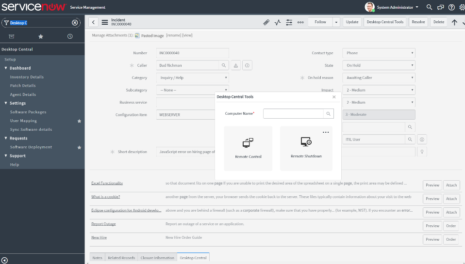 Desktop Central remote capabilities from ServiceNow incident window