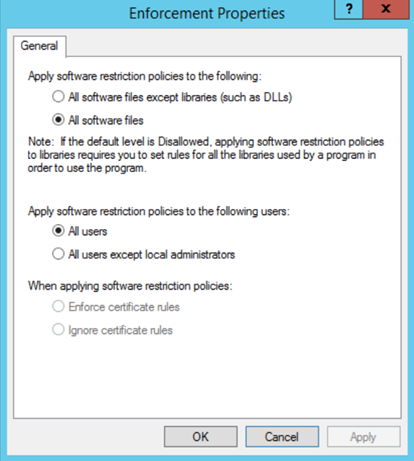 Application whitelisting using software restriction policies