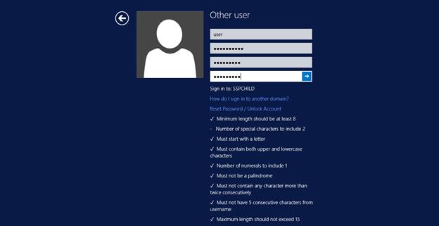 Password Policy Requirements in Windows Change Password Screen