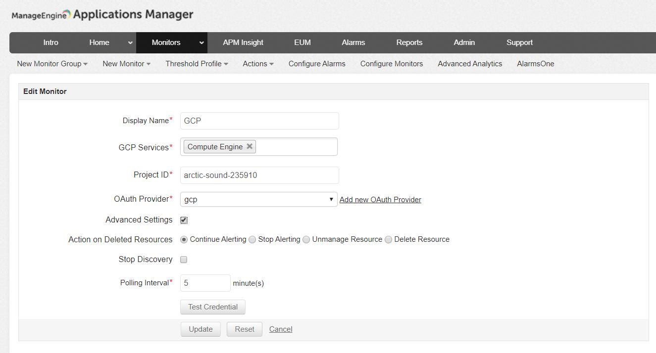 Google Cloud Platform Monitoring - ManageEngine Applications Manager