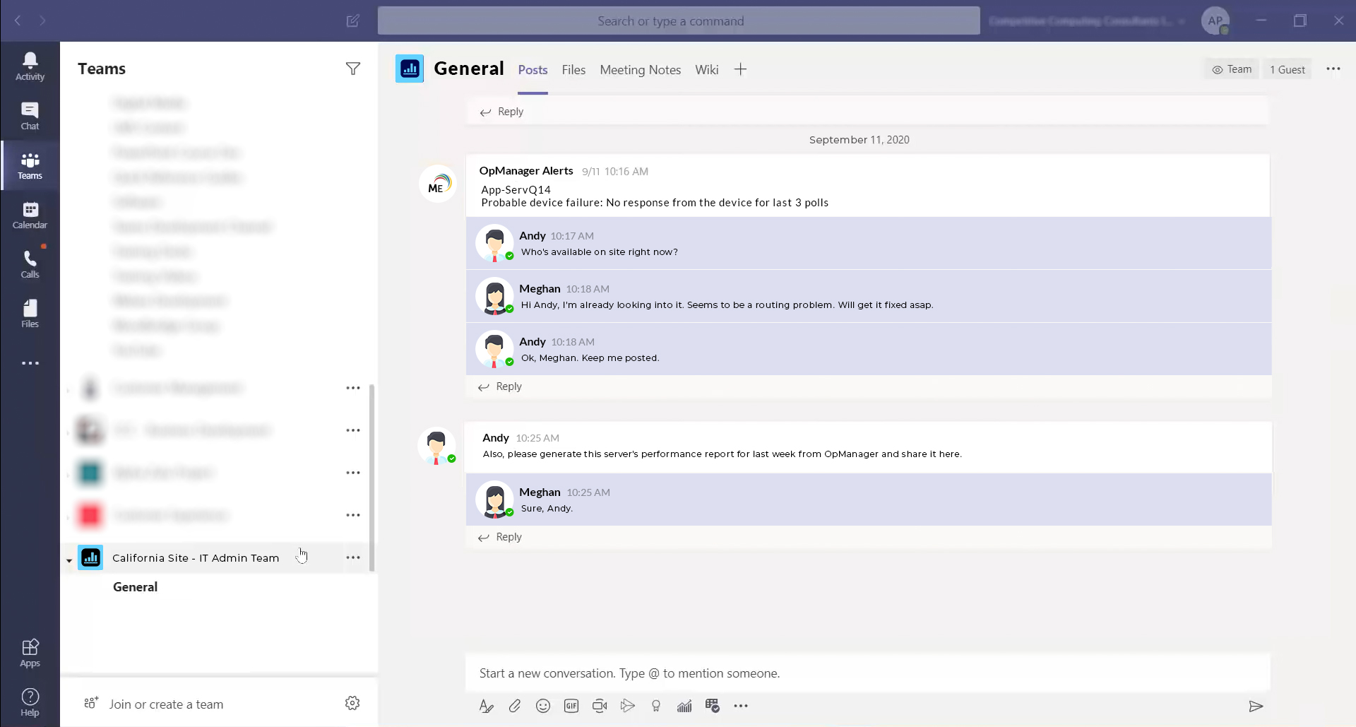 Microsoft Teams - OpManager UI