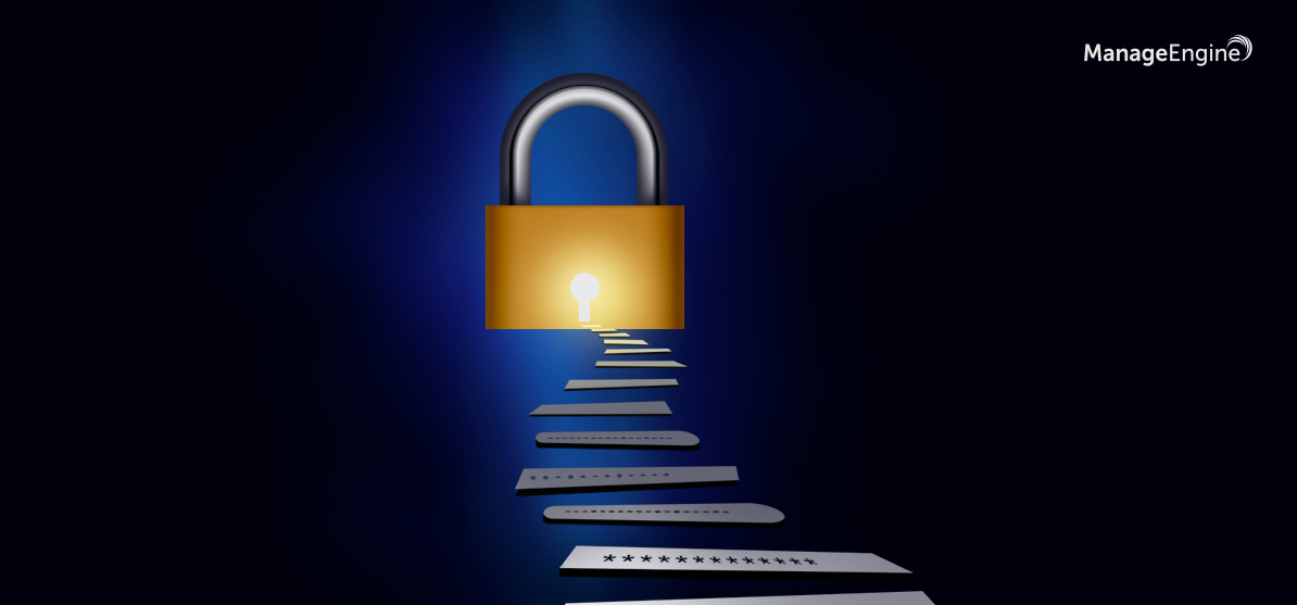 steps made up of passwords leading to a lock implying how password hygiene is one of the key steps to better security